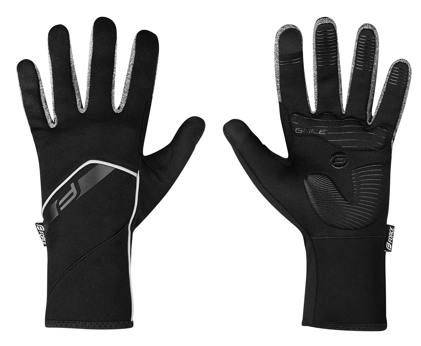 rukavice FORCE GALE softshell, jaro-podzim, černé XXL