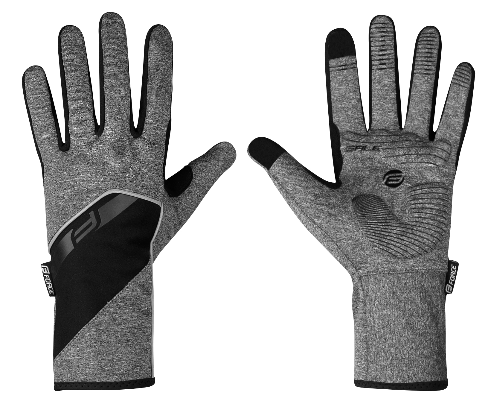 rukavice FORCE GALE softshell, jaro-podzim, šedé XS
