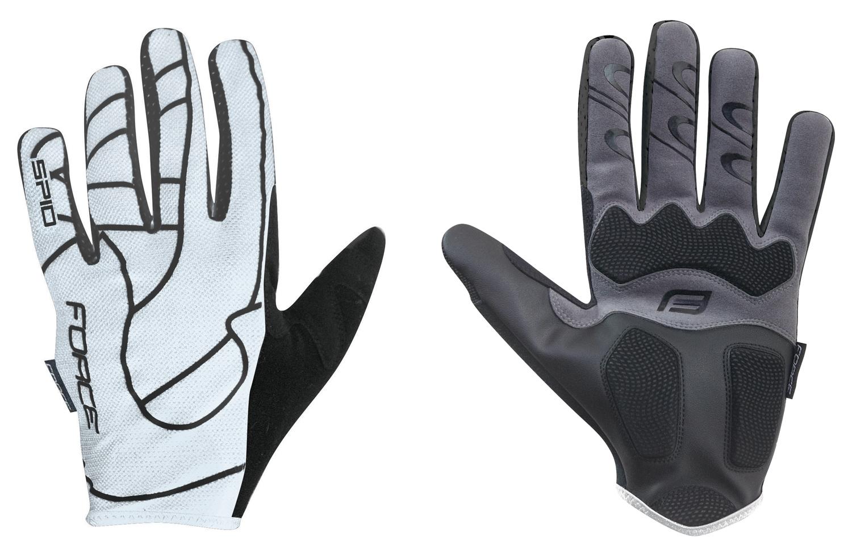 rukavice FORCE MTB SPID 16 bez zapínání, bílé L
