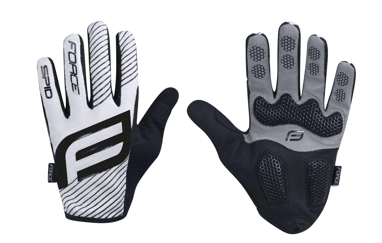 rukavice FORCE MTB SPID bez zapínání, bílé, 2.jak XL