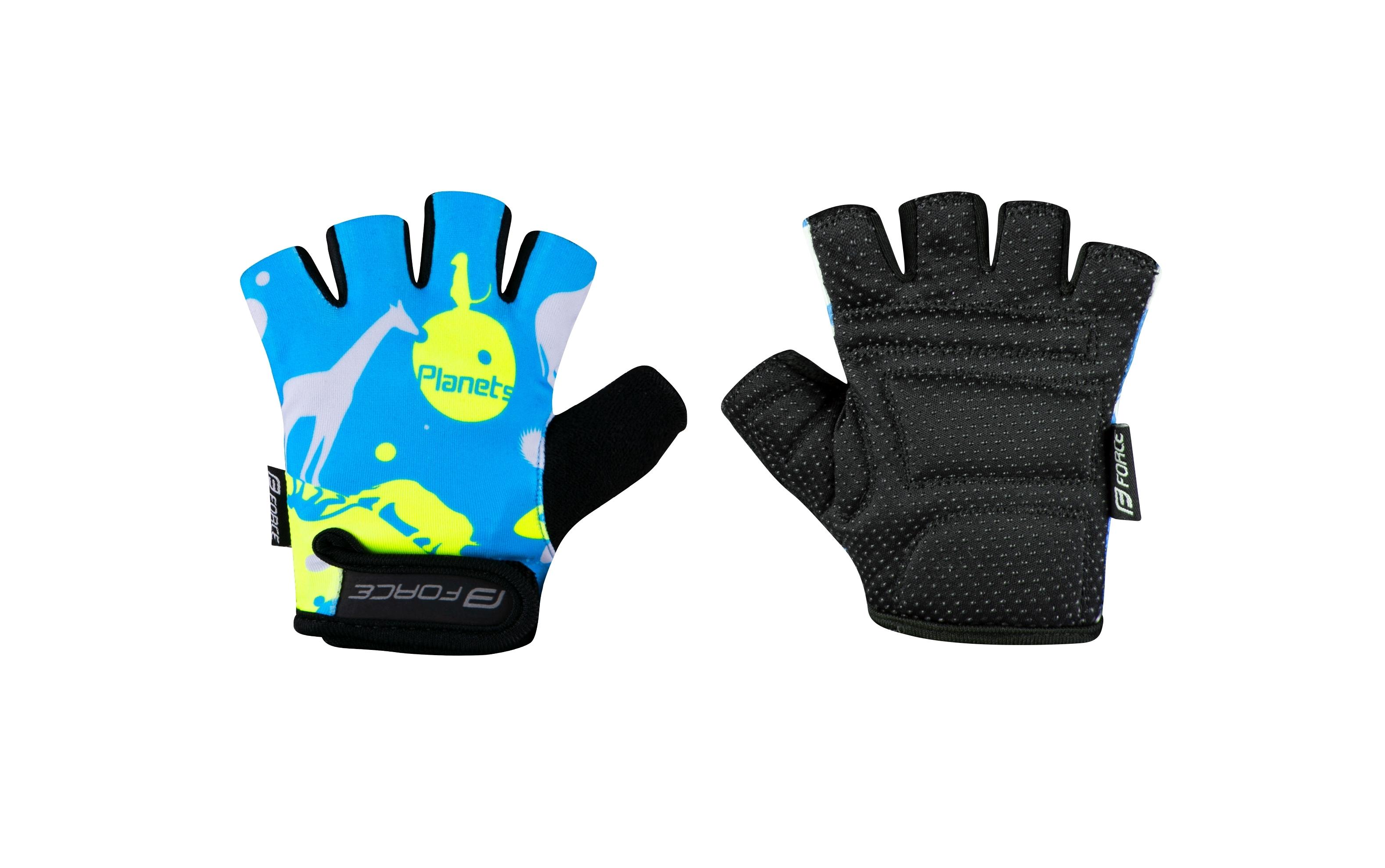 rukavice F PLANETS dětské, modro-fluo XL