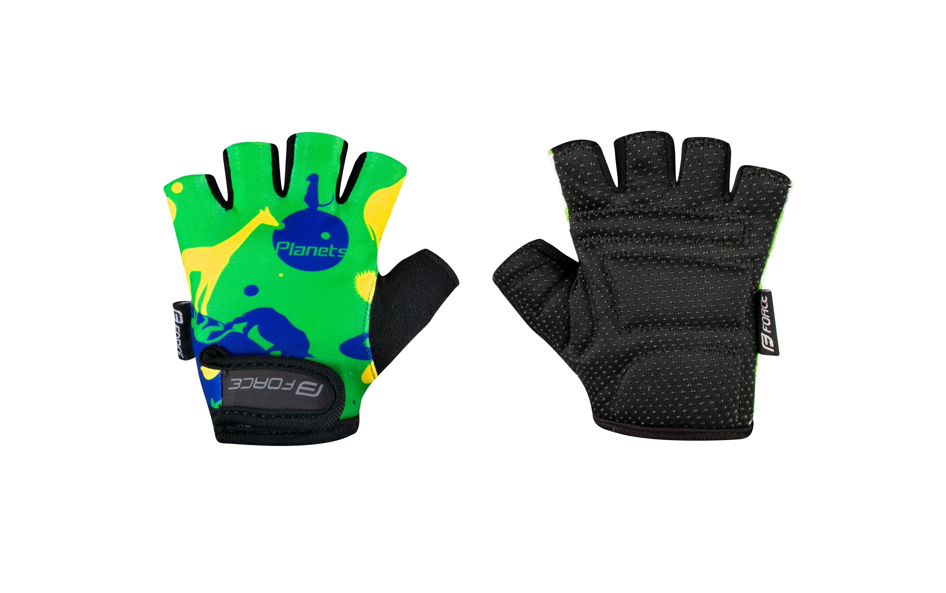 rukavice FORCE PLANETS dětské, zeleno-žluté XL
