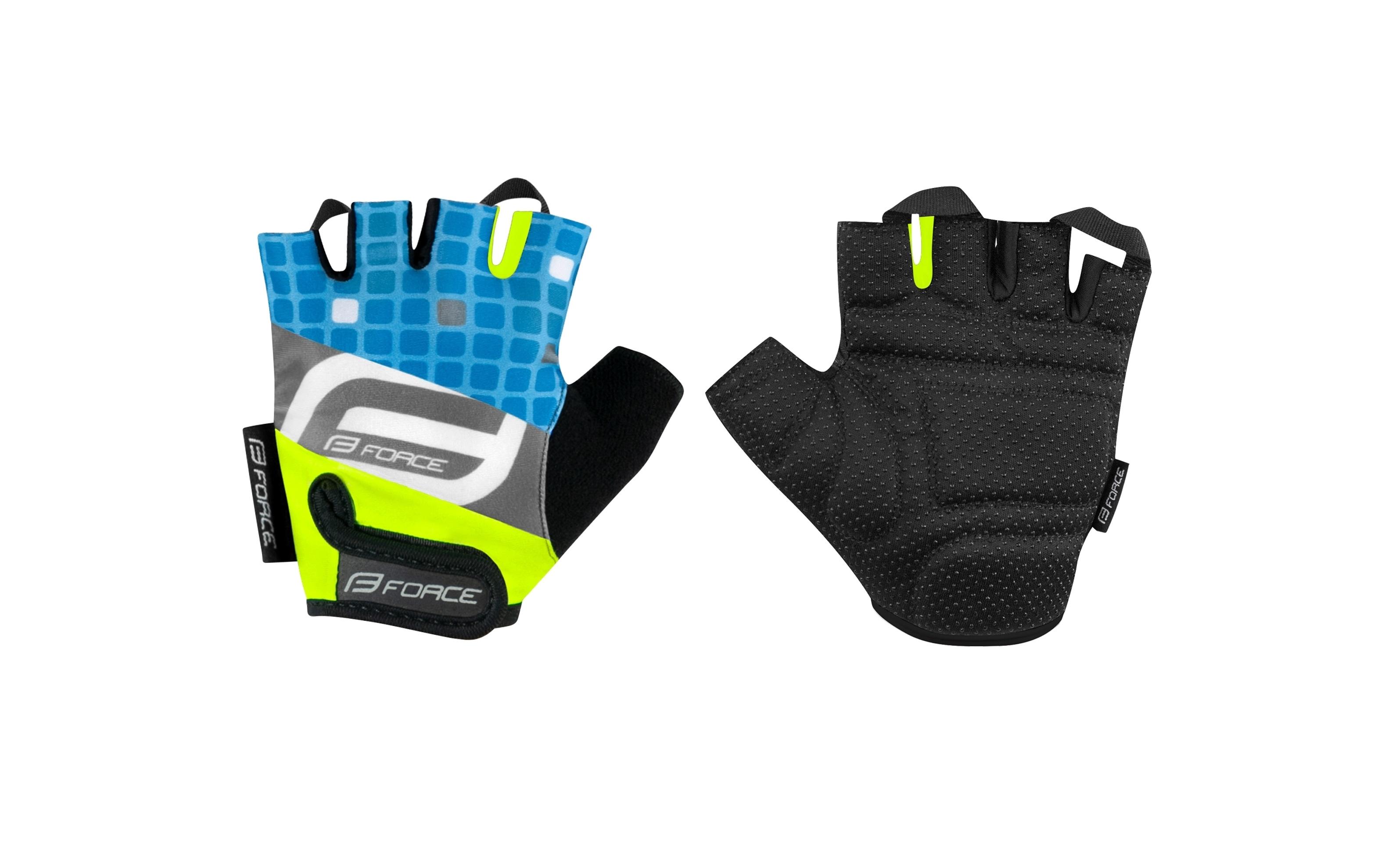 rukavice F SQUARE dětské, fluo-modré XL