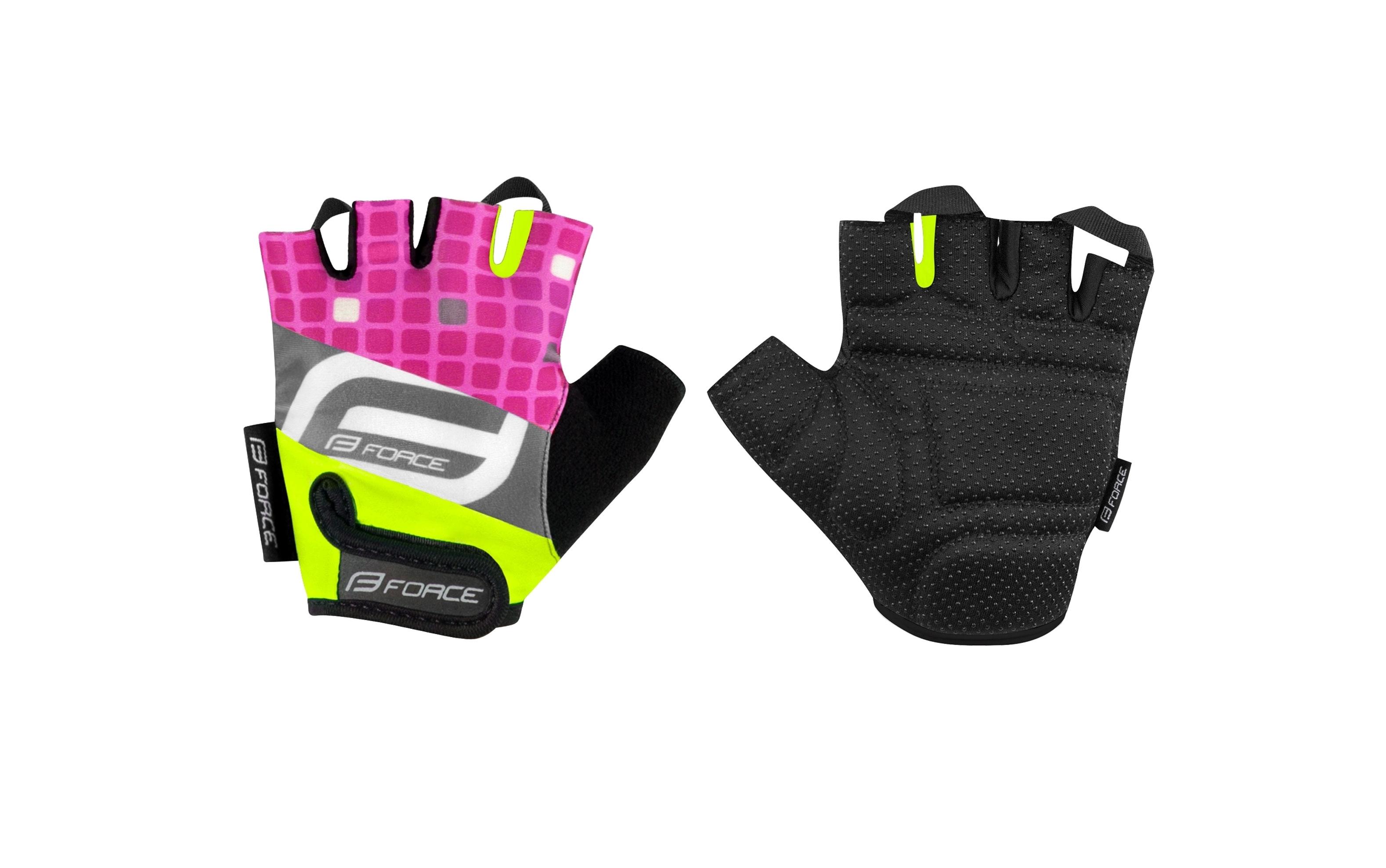 rukavice FORCE SQUARE KID, fluo-růžové XL