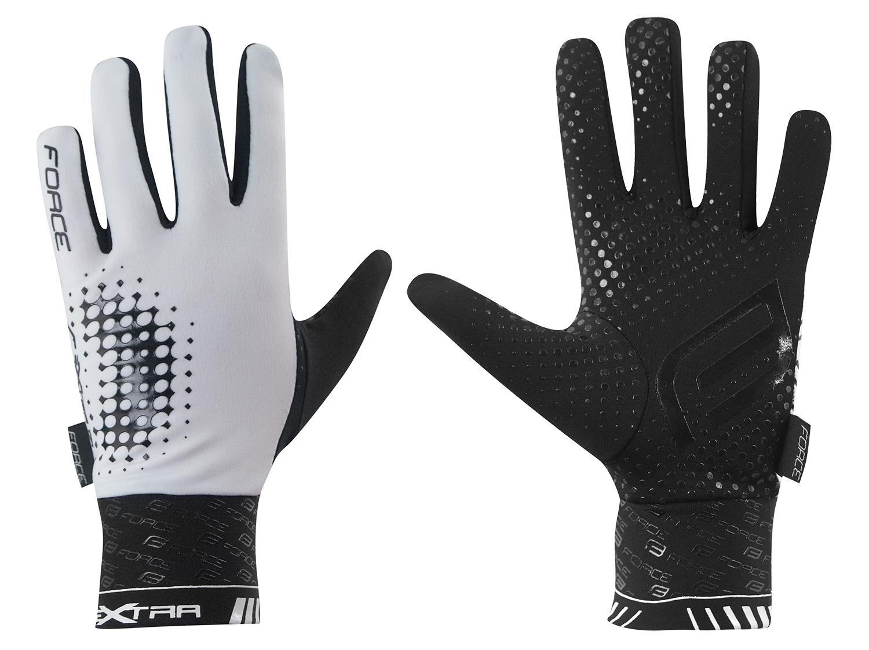 rukavice FORCE EXTRA, jaro-podzim, bílo-černé L