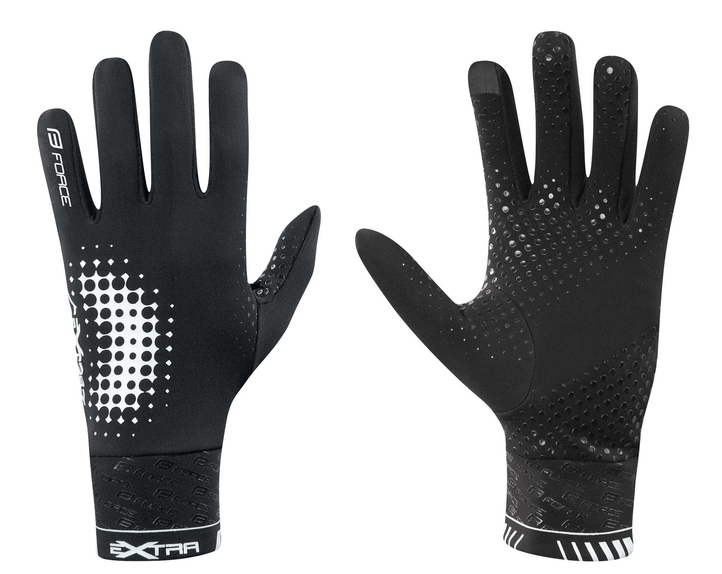 rukavice FORCE EXTRA, jaro-podzim, černé XL