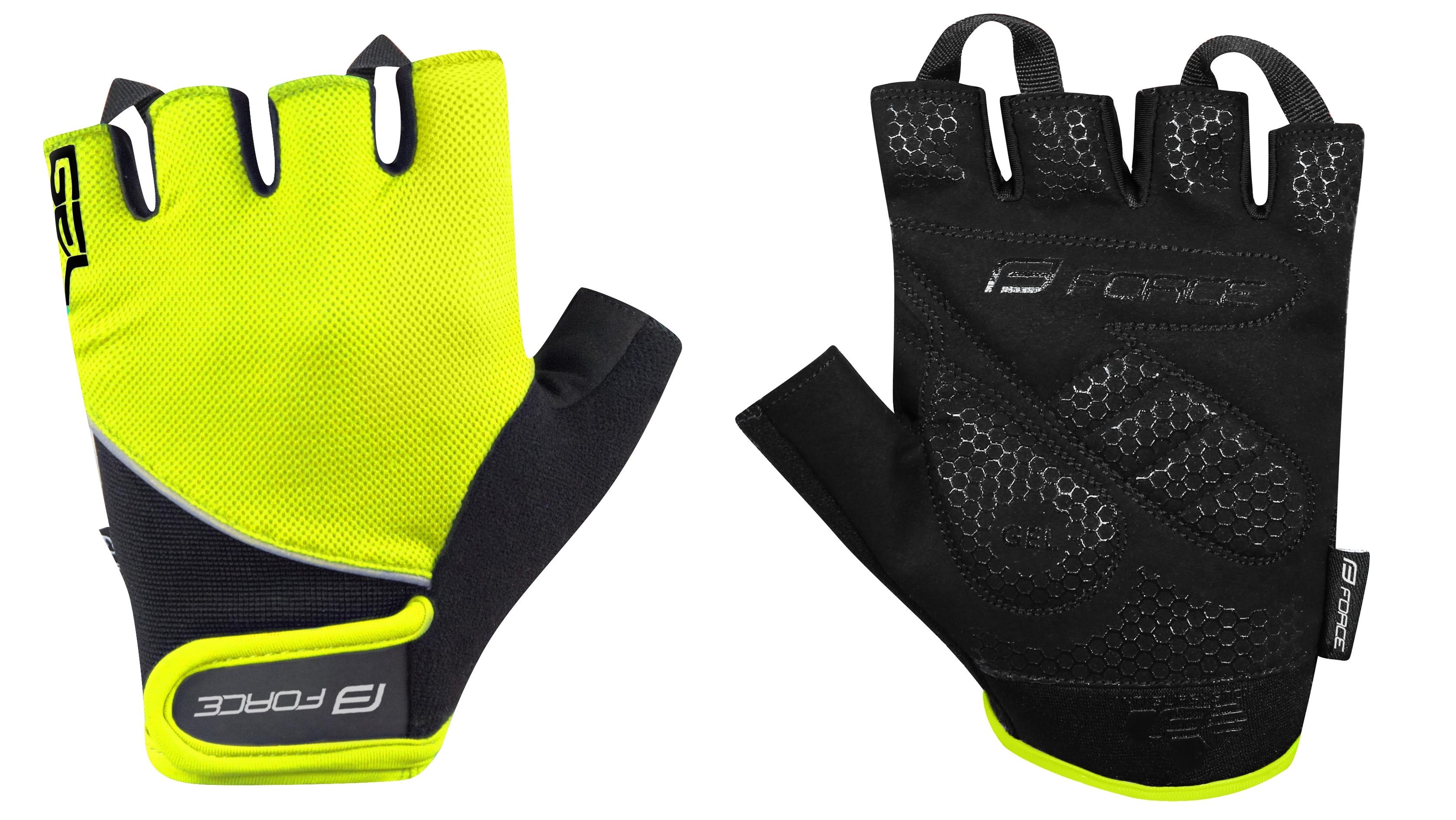 rukavice FORCE GEL, fluo-černé XS