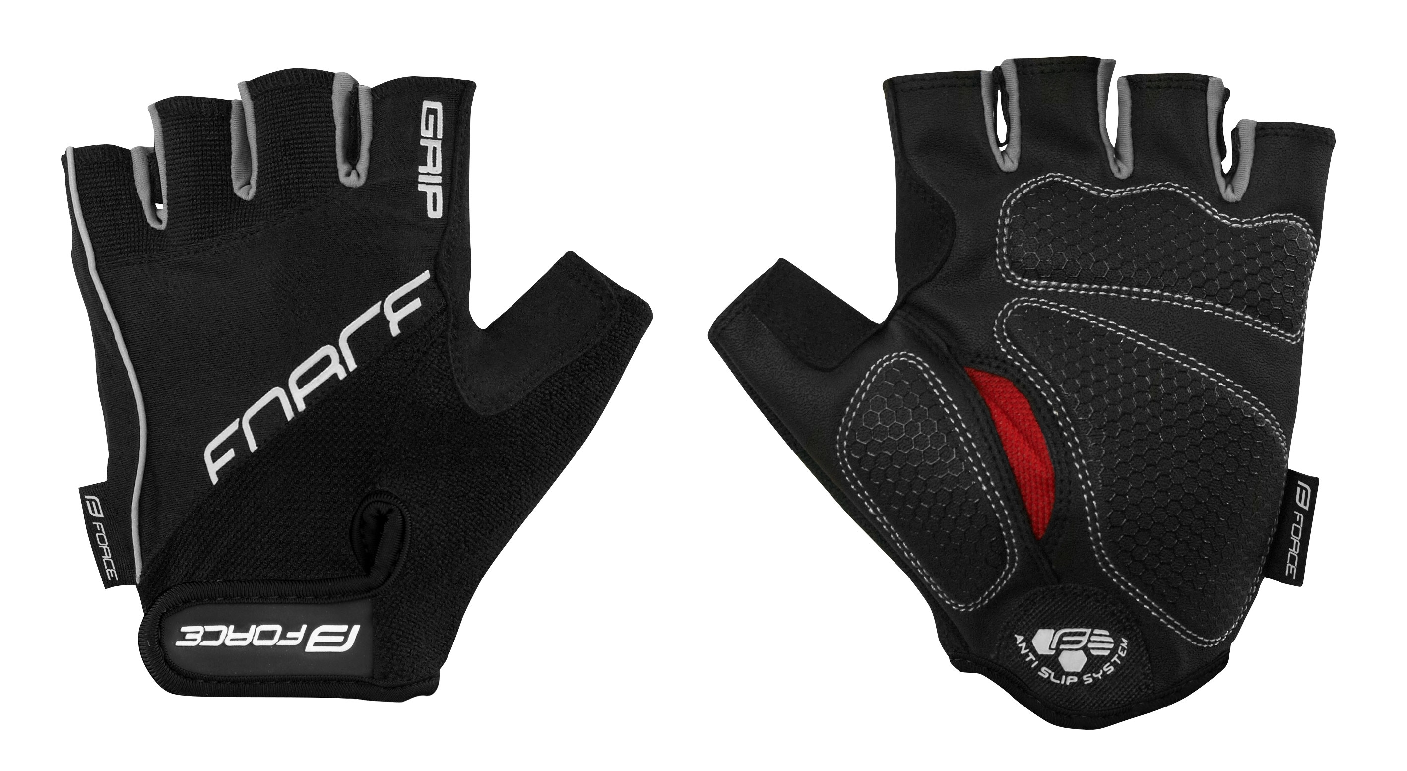 rukavice FORCE GRIP gel, černé XL