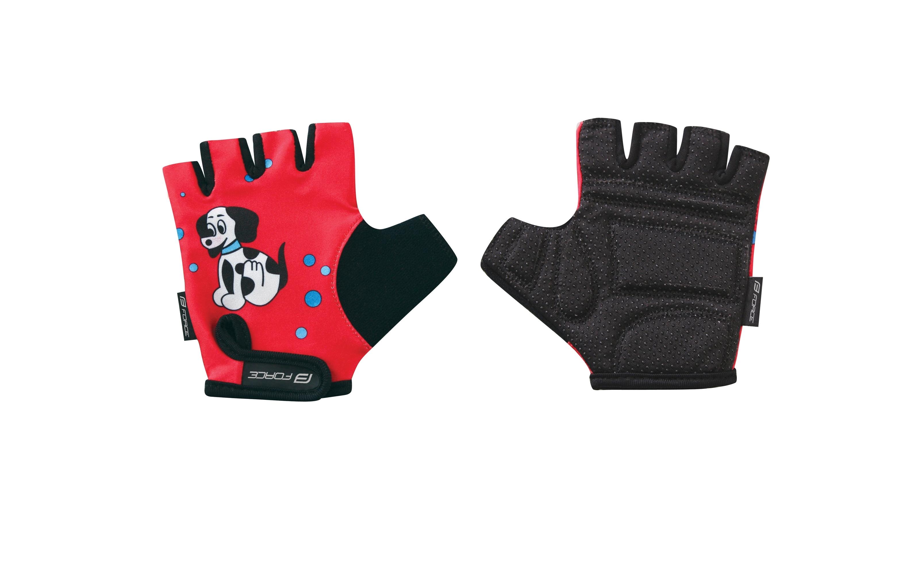 rukavice FORCE KID dětské, červené-pejsek M