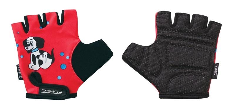 rukavice FORCE KID dětské, červené-pejsek XL