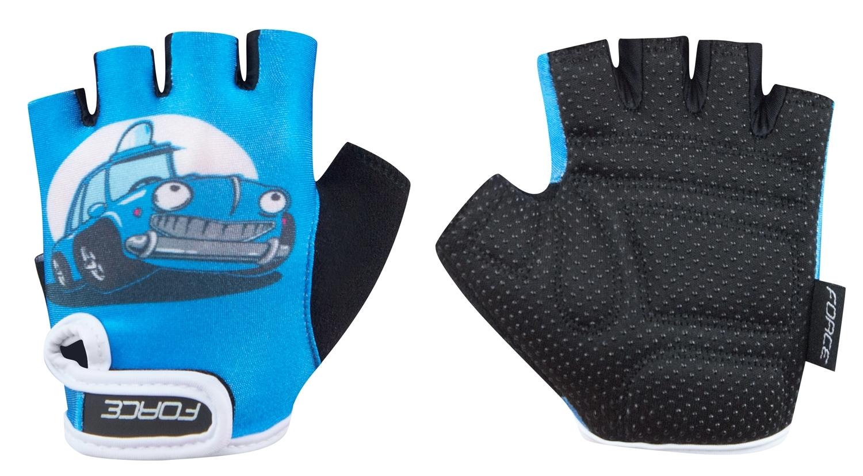 rukavice FORCE KID dětské, modré-auto XL
