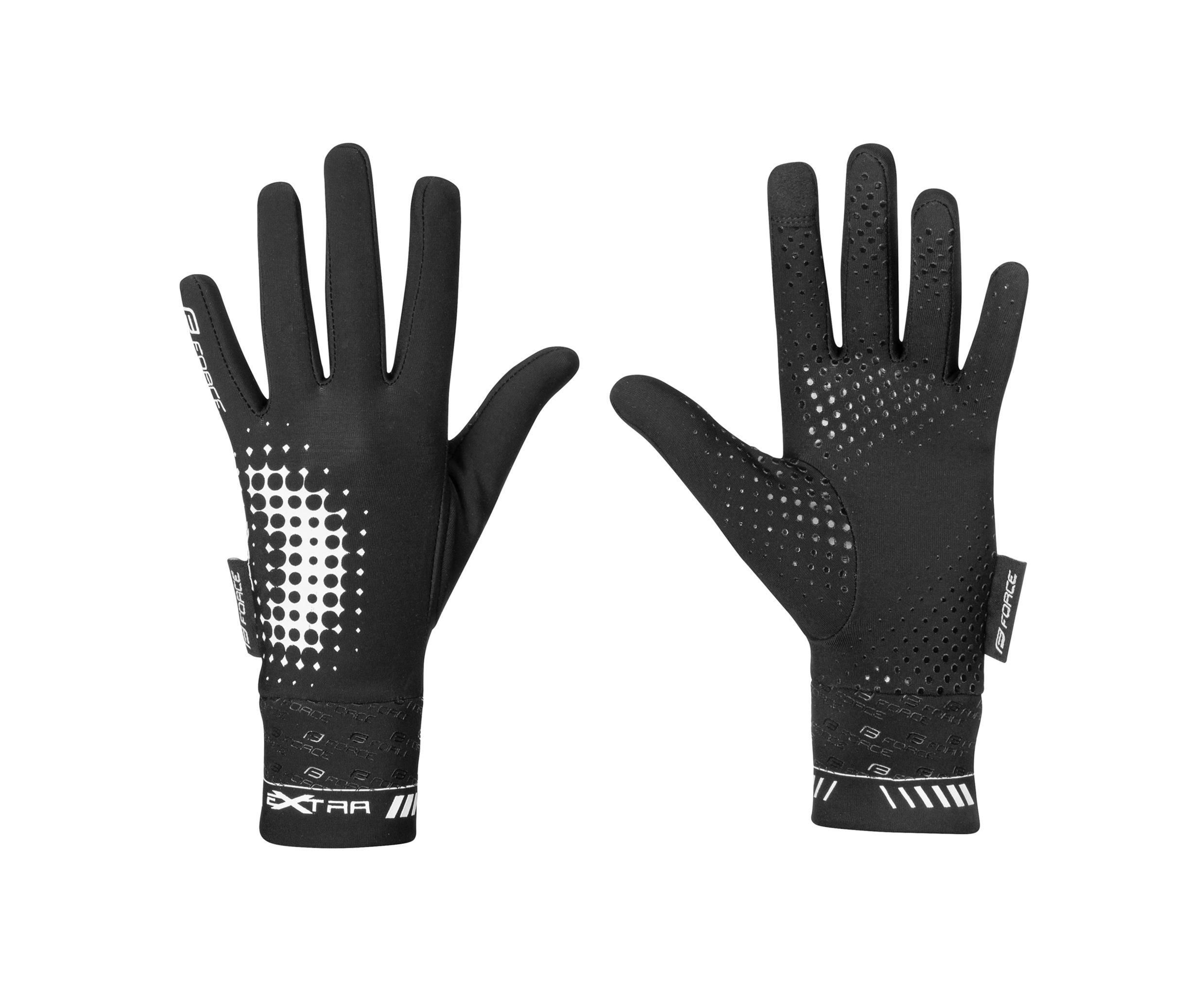 rukavice FORCE KID dětské EXTRA, jaro-podzim, černé XL