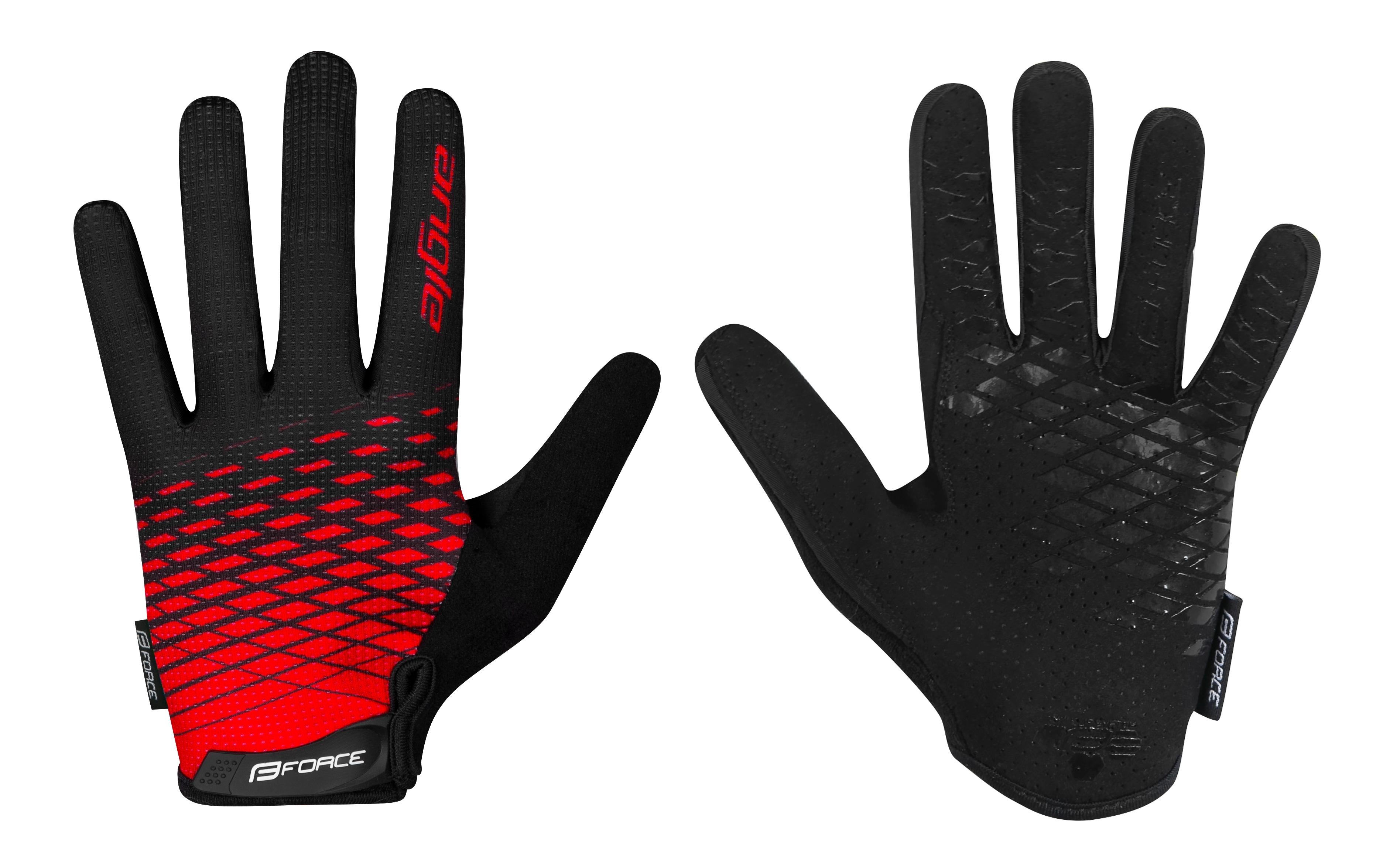 rukavice FORCE MTB ANGLE letní,červeno-černé XL
