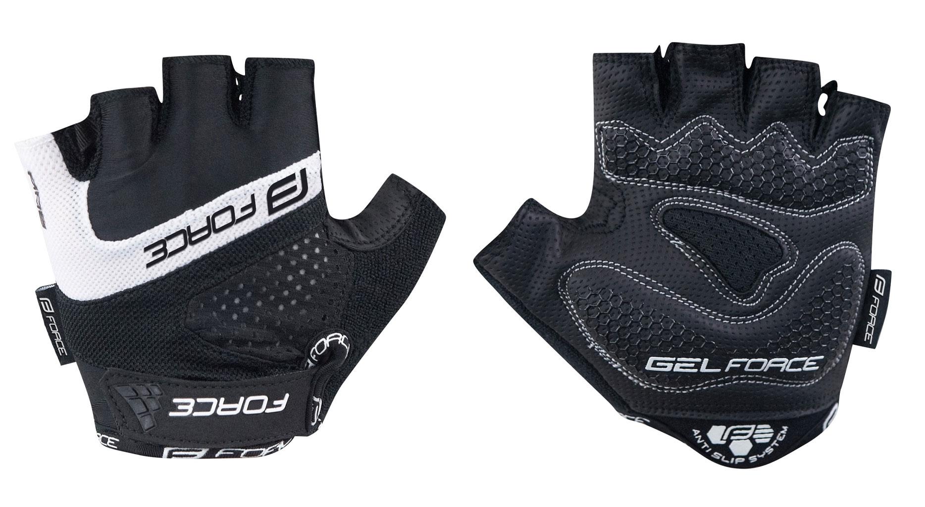 rukavice FORCE RAB gel, černé XL
