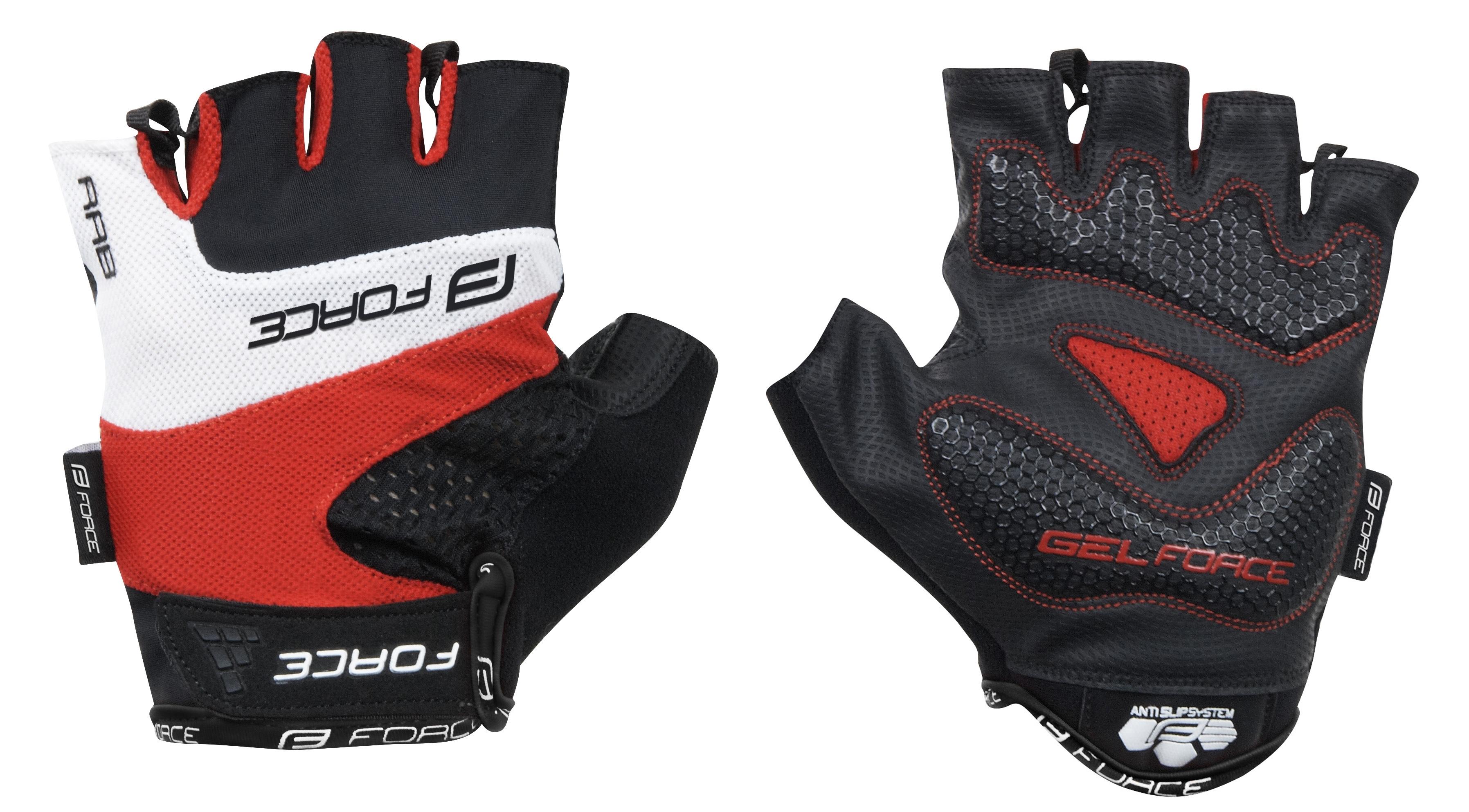 rukavice FORCE RAB gel, červené XL