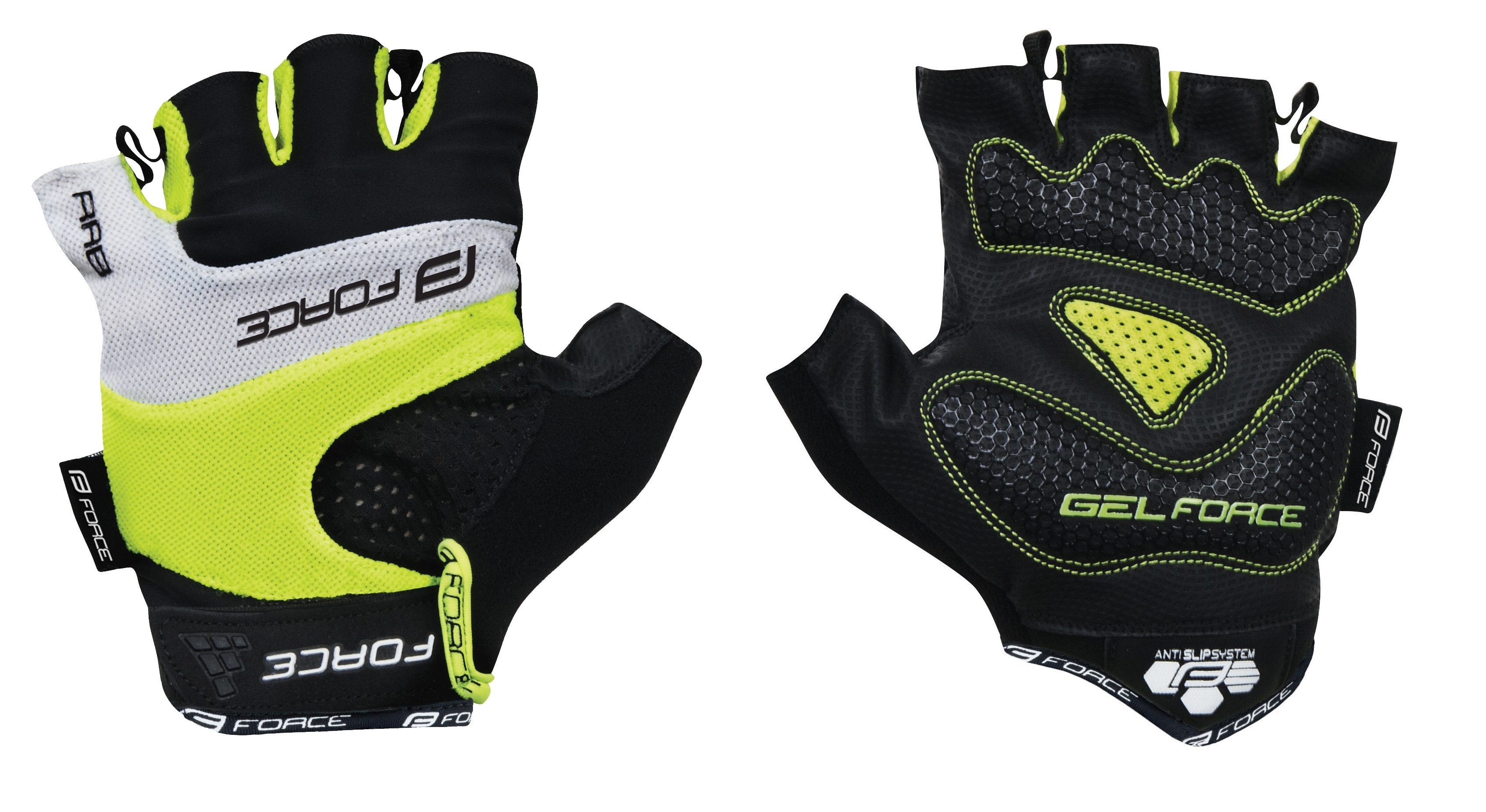 rukavice FORCE RAB gel, fluo L