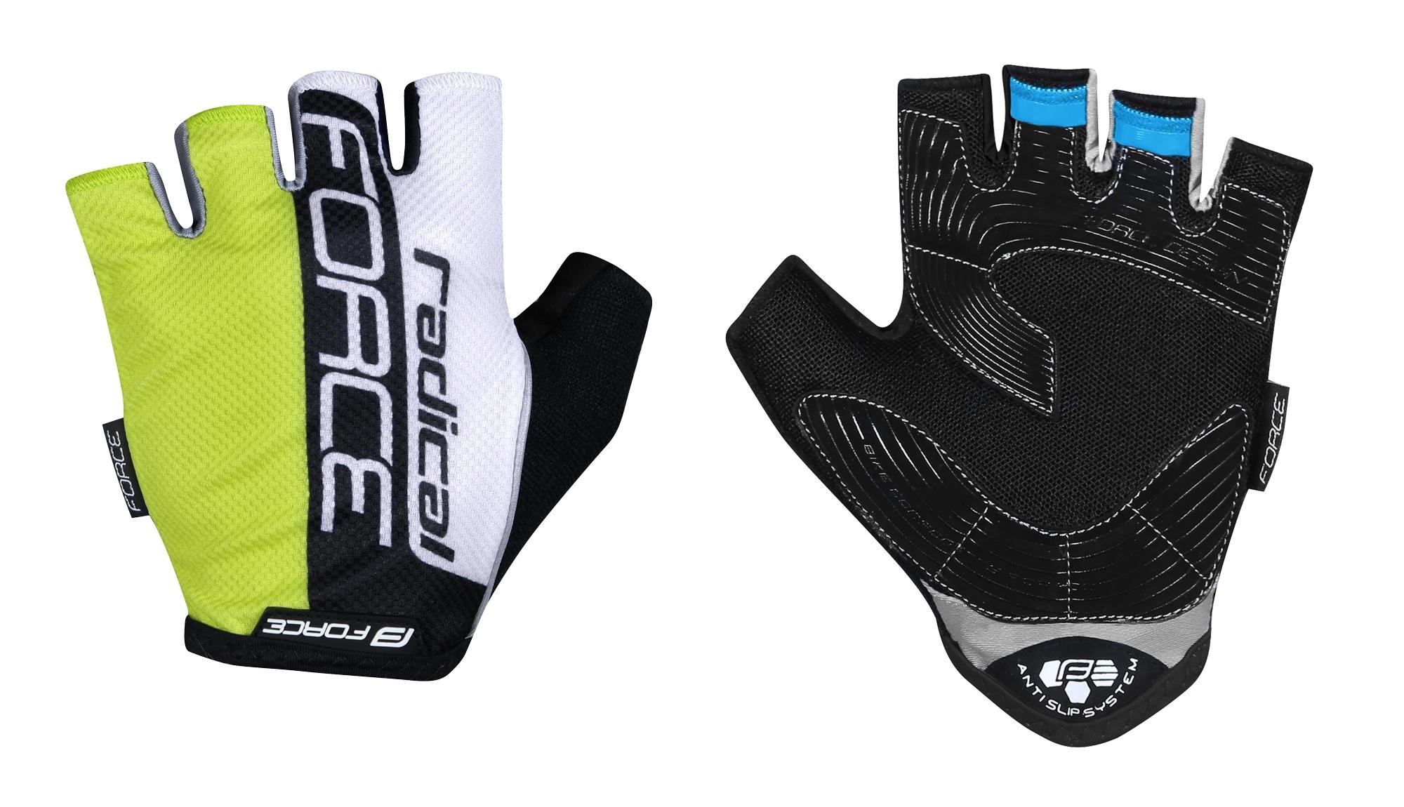 rukavice FORCE RADICAL, fluo-bílo-černé S