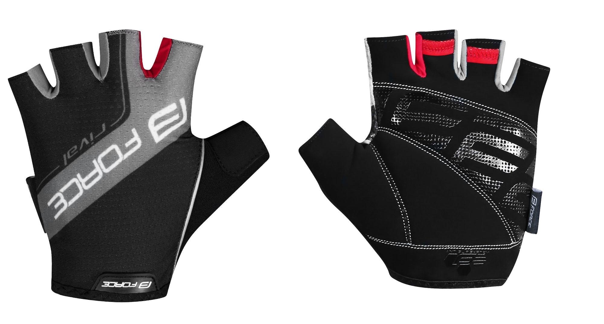 rukavice FORCE RIVAL, černo-šedé M