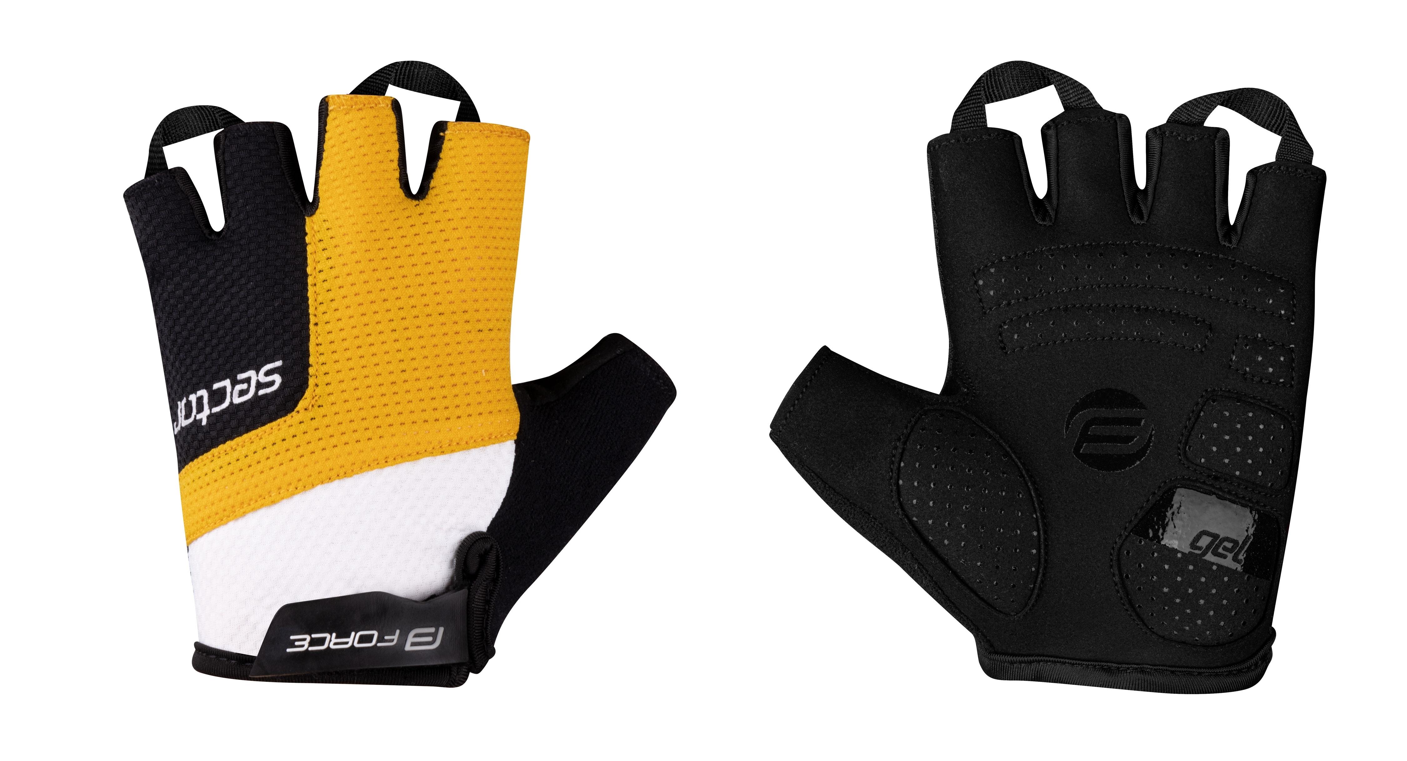 rukavice FORCE SECTOR gel, černo-žluté M