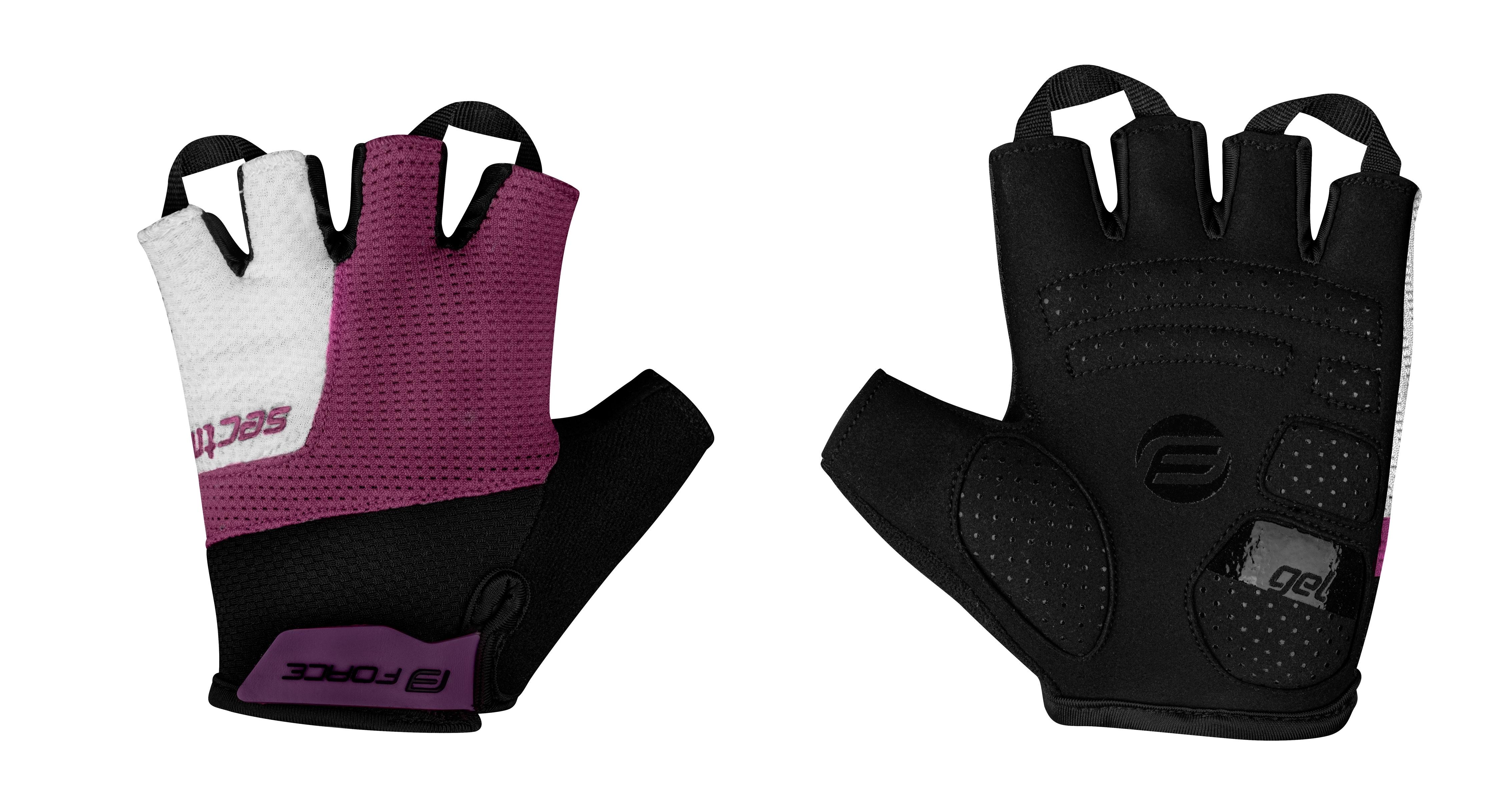 rukavice FORCE SECTOR LADY gel, černo-fialové XS