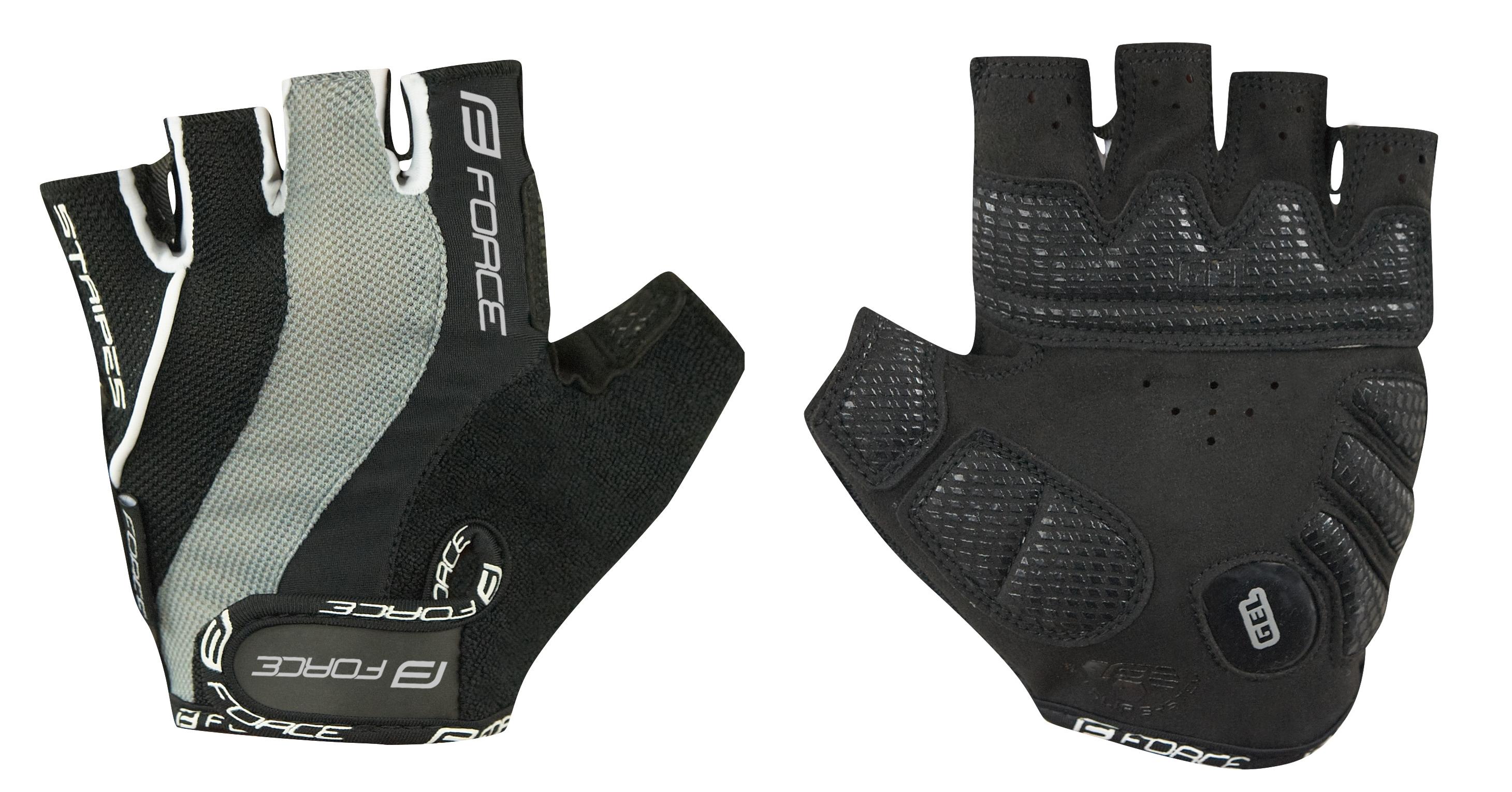 rukavice FORCE STRIPES gel, černé L