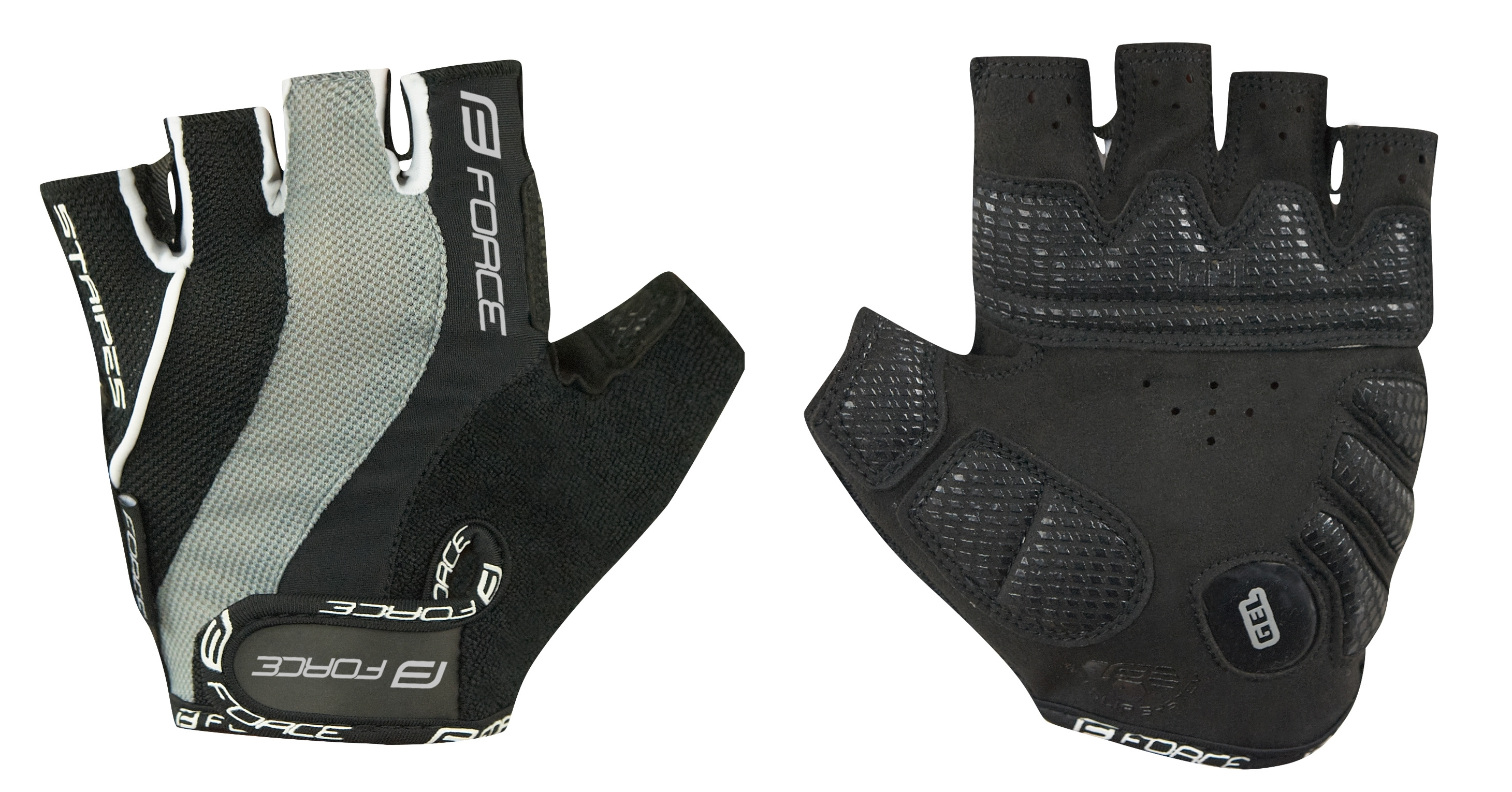 rukavice FORCE STRIPES gel, černé M