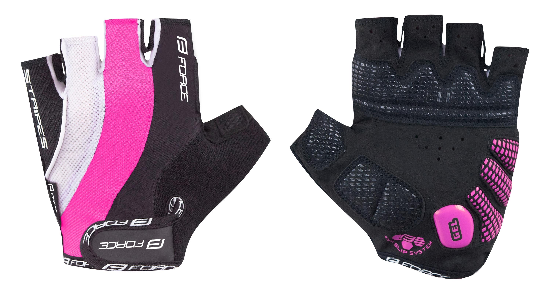 rukavice FORCE STRIPES LADY gel, růžové XS