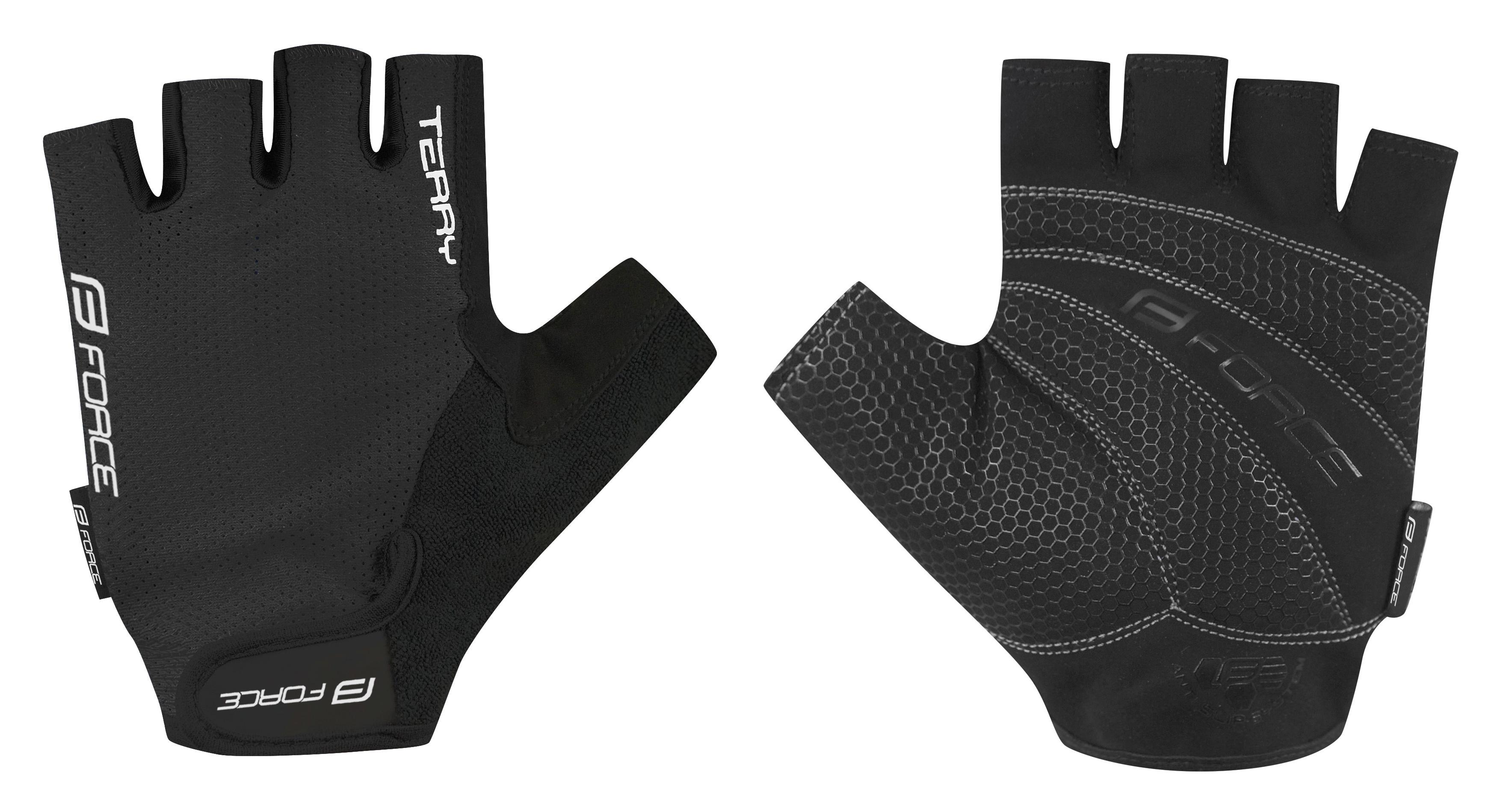 rukavice FORCE TERRY, černé XL