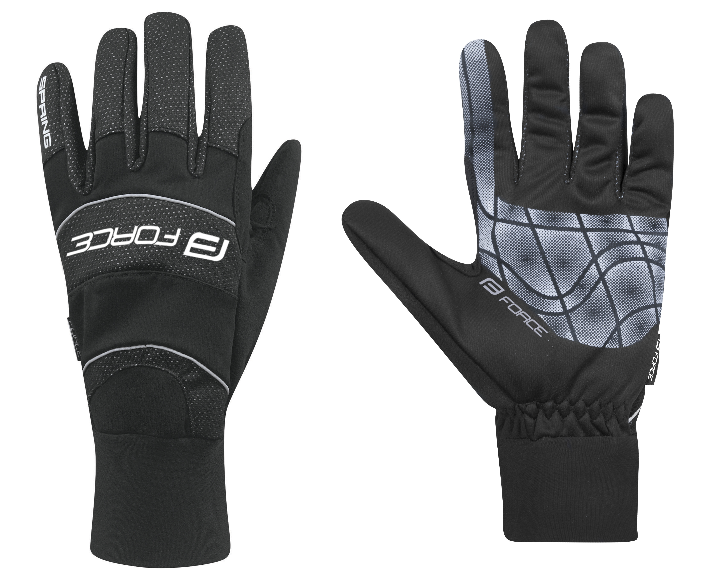 rukavice FORCE WINDSTER SPRING, černé XL