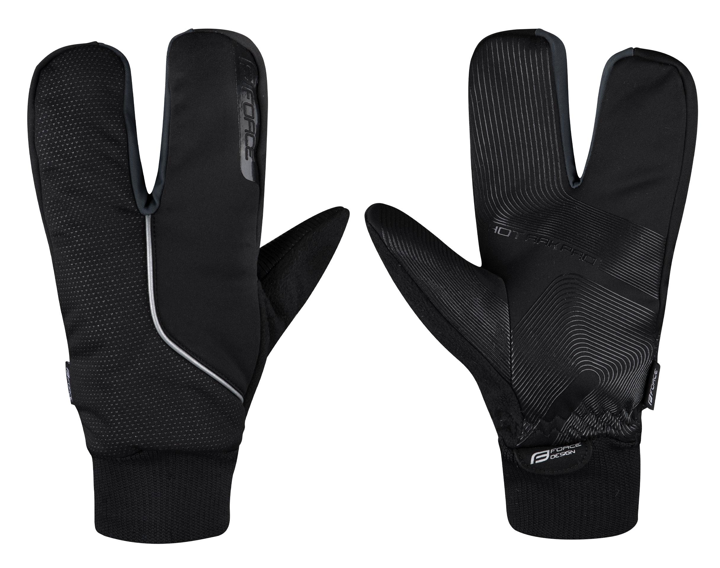 rukavice zimní F HOT RAK PRO 3 prsté, černé XL