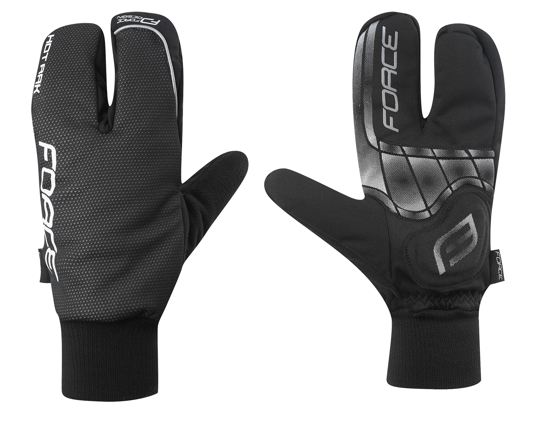 rukavice zimní FORCE HOT RAK 3-prsté, černé XXL