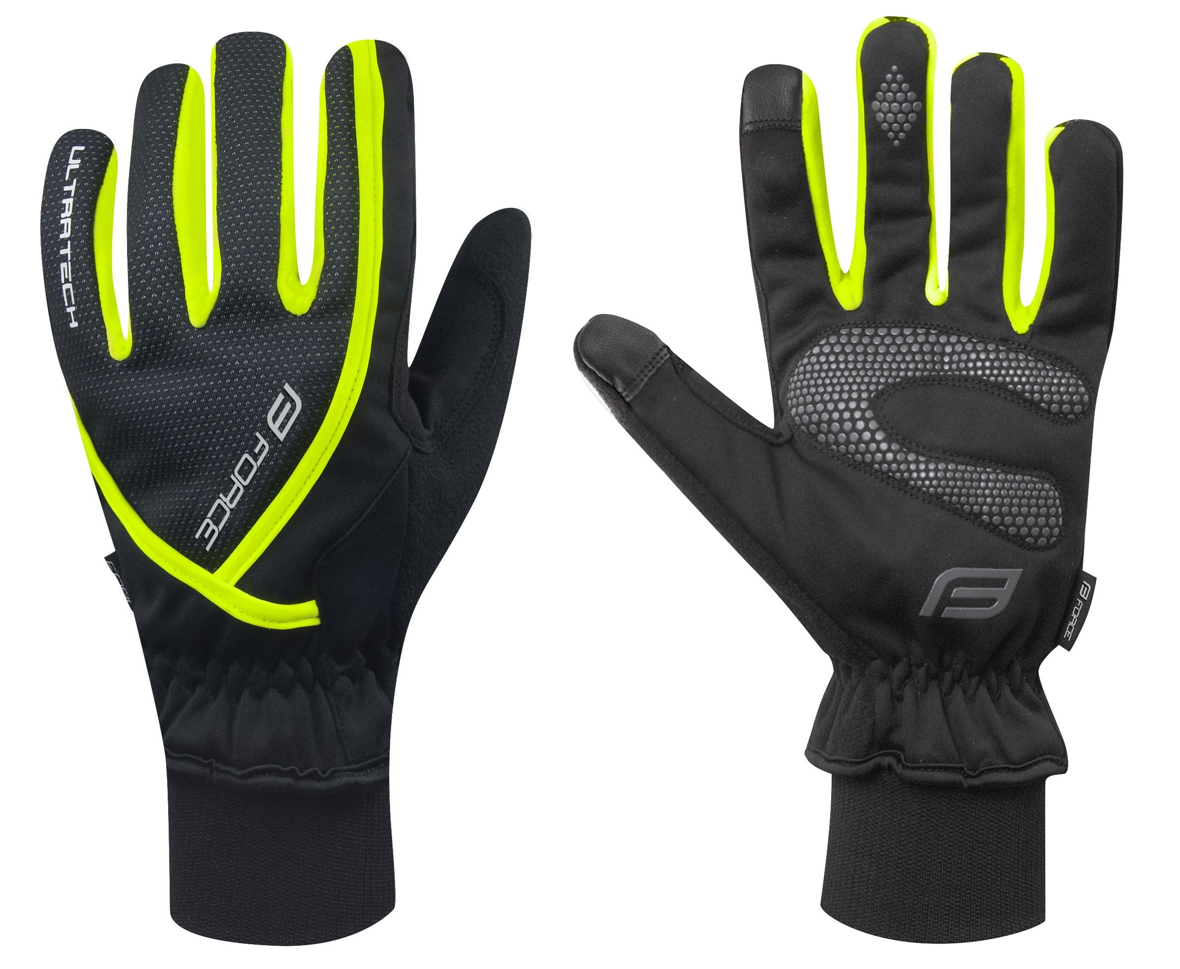 rukavice zimní FORCE ULTRA TECH, fluo M
