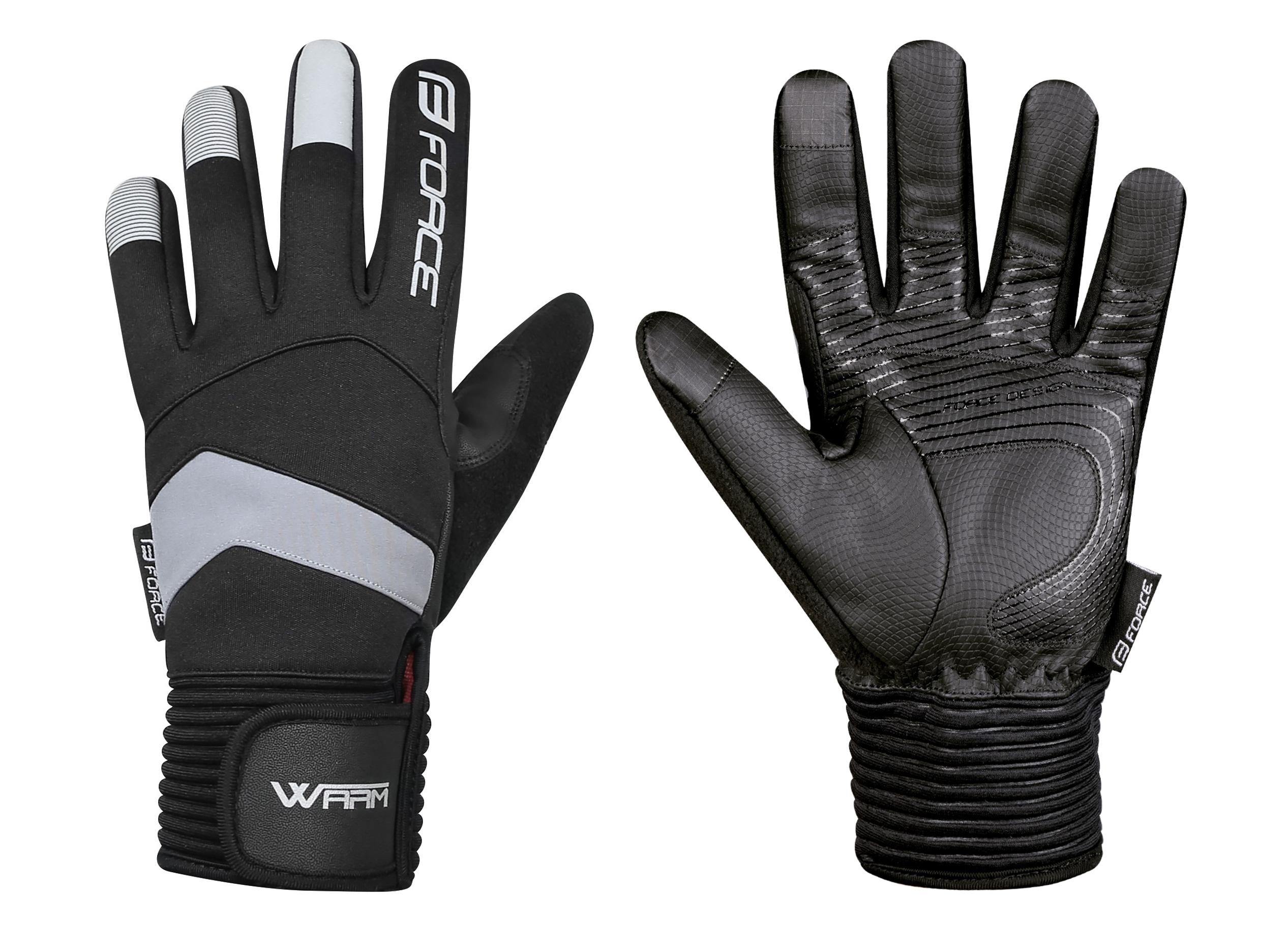 rukavice zimní FORCE WARM, černé XXL