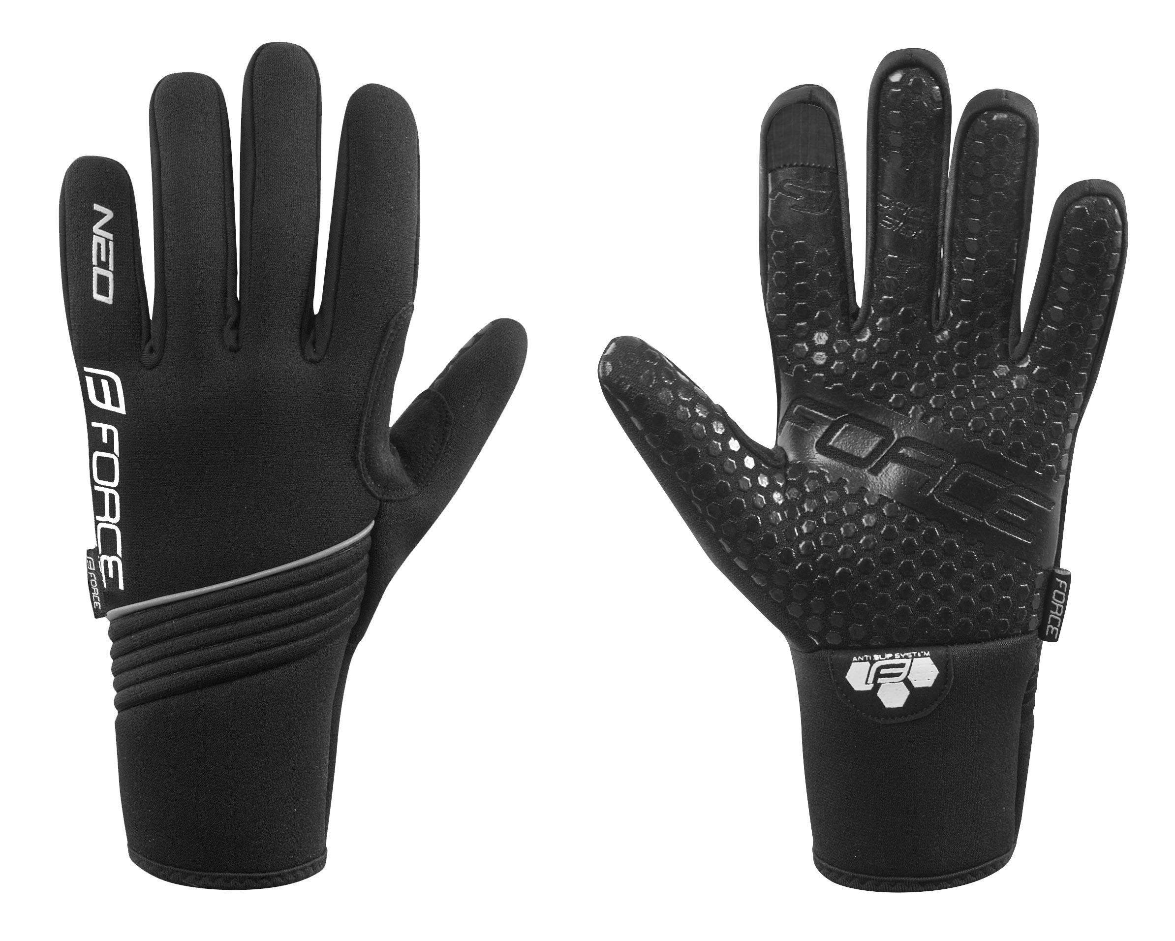 rukavice zimní neoprén FORCE NEO, černé XXL