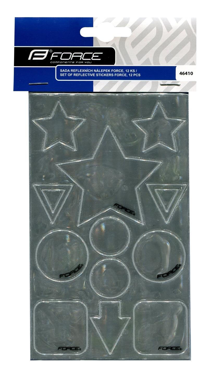 sada nálepek reflexních stříbrných FORCE, 12 ks
