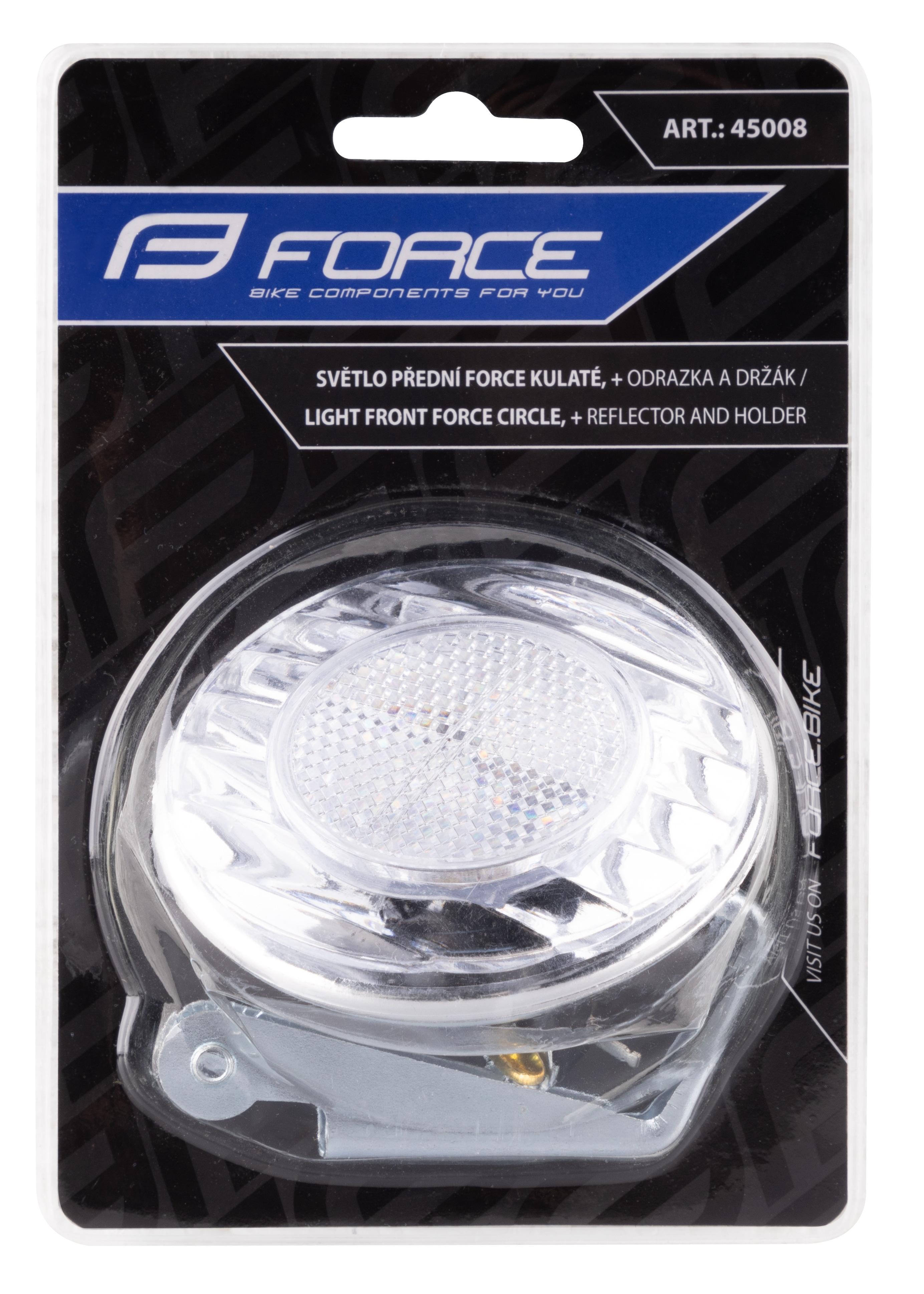 Světlo přední FORCE kulaté 7cm + odrazka a držák