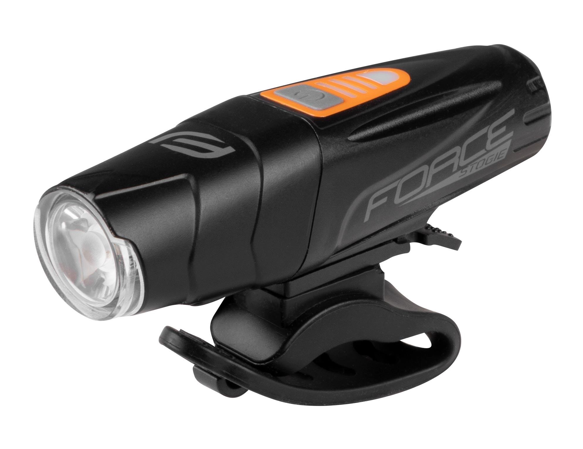 světlo přední FORCE STOGIE 900 LM, USB, černé