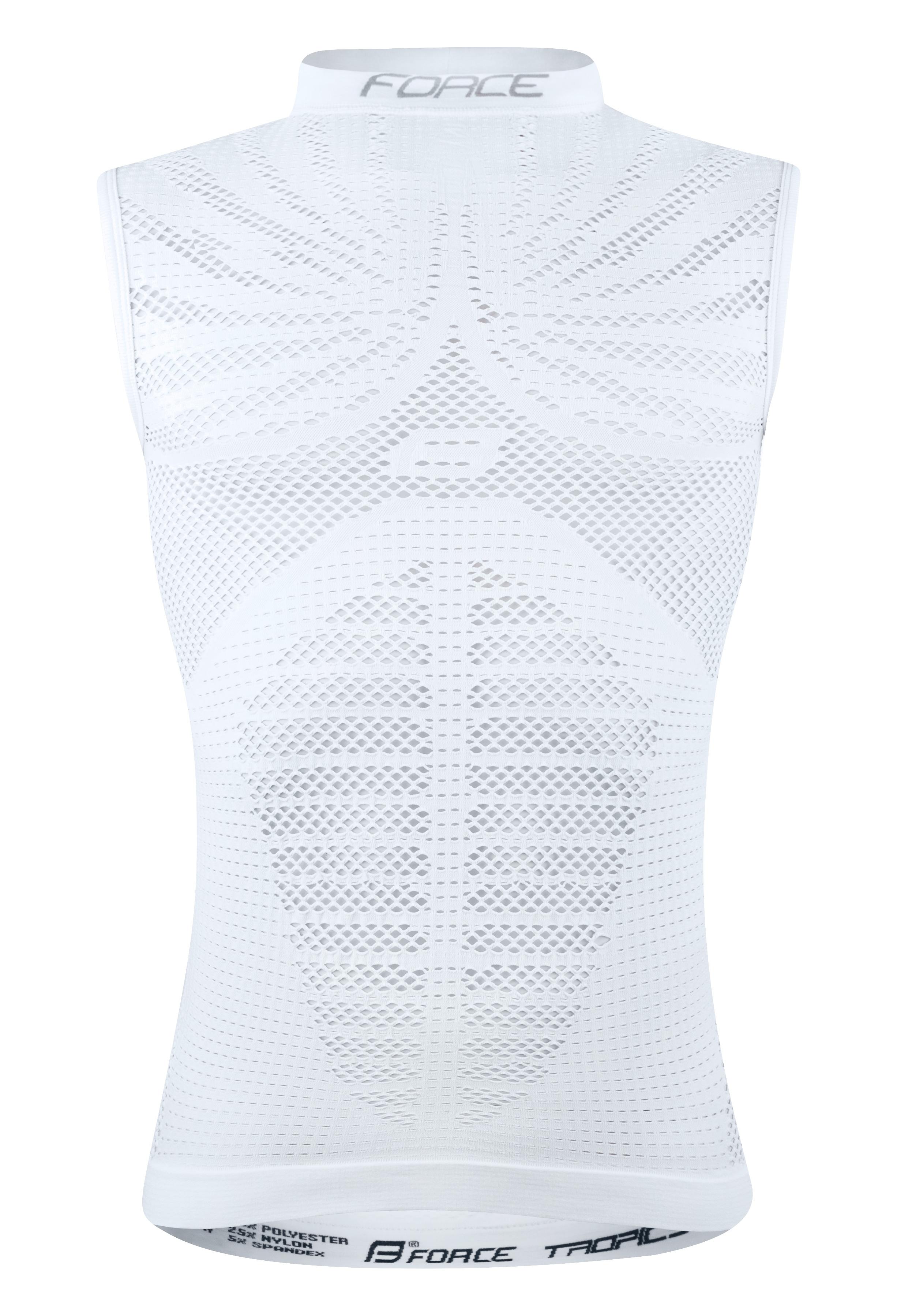 triko/funkční prádlo FORCE TROPIC bez rukávů,bílé L-XL