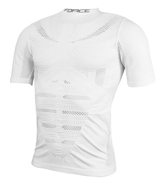 triko/funkční prádlo FORCE WIND krátký rukáv,bílé S-M