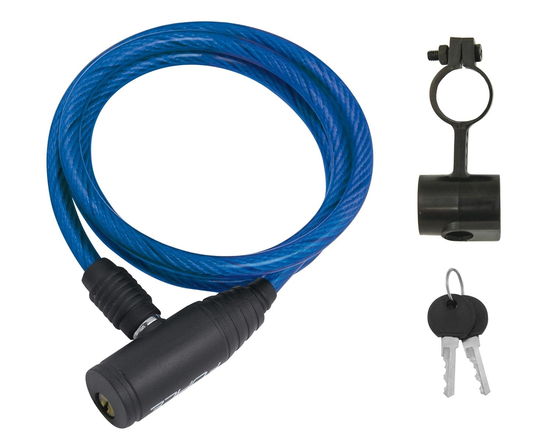 zámek FORCE ECO spirálový s držákem 120cm/8mm, modrý