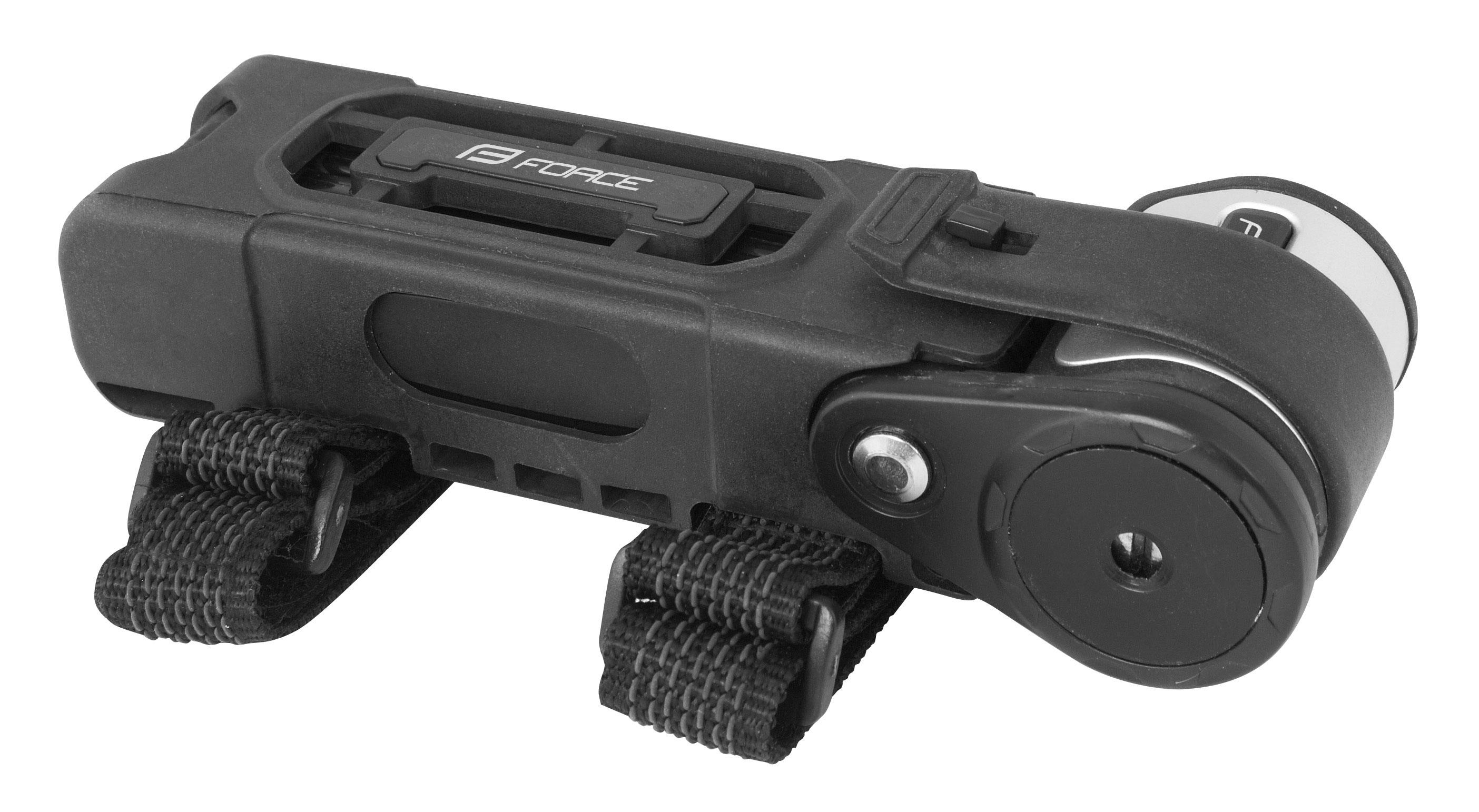 zámek FORCE FOLD skládací 80 cm, 6 článků, černý+držák