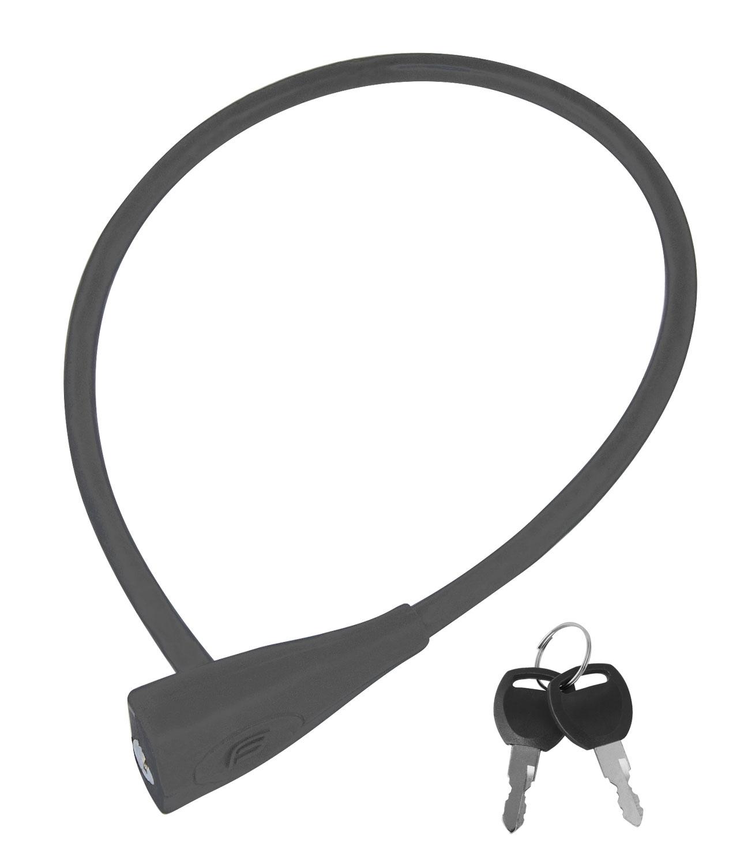 zámek FORCE klíčkový silikon.bez držáku 65cm/10mm,šedý